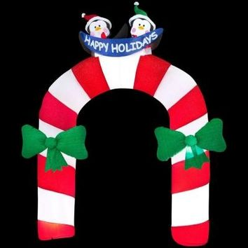 SheilaShrubs.com: Archway Mixed Media Candy Cane with Penguin 85196X by Gemmy Industries: Christmas Outdoor Decor