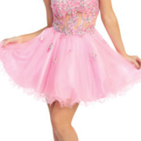 2014 Prom Dresses - Pink Illusion & Tulle Tutu Dress