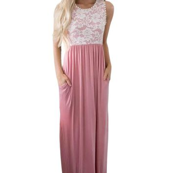 Floral Lace Top Pink Sleeveless Maxi Dress
