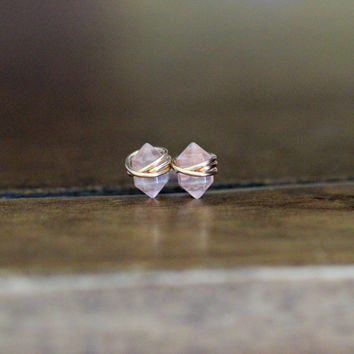 Pike Studs - Rose Quartz