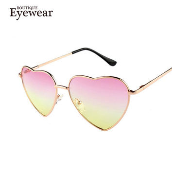 BOUTIQUE Heart Shaped Sunglasses WOMEN metal Reflective Fashion Mirror