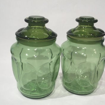 L E Smith Green Glass Storage Canister Set, Vintage Set (2) L E Smith Green Canister Apothecary Glass Jars, Green Glass Kitchen Storage Jars