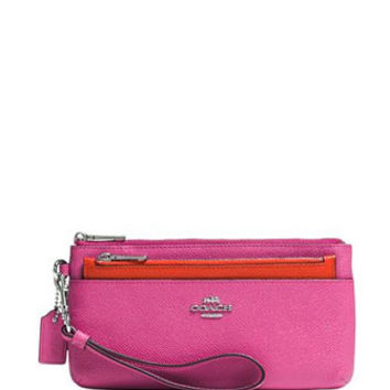 Coach Zippy Wallet With Pop-up Pouch Embossed Leather