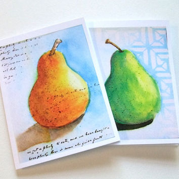 Watercolor Pear Notecards - Set of 4 - Art Cards