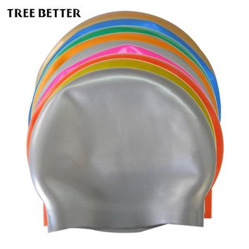 Silicone Rubber Swimming Cap Waterproof Swim Caps Elasticity Hat Swimming Competition Accessorie student Adult Men Women 9 color