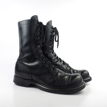Combat Boots Vintage 1980s Double H H Made in USA Black Leather Lace Up Grunge Men's size 6 D