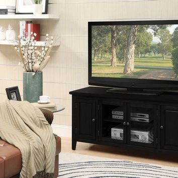 Acme 10344 Christella collection contemporary styled black finish wood tv stand with glass front cabinet