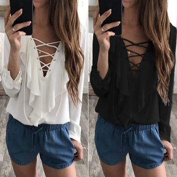 Women's Chiffon Blouse Lace Up V Neck Ruffle Long Sleeve Tops Summer T-Shirt US