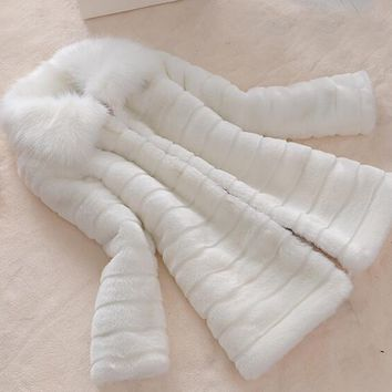 LET-SETTING winter fur coat faux fur rabbit fur fox fur collar long leather women large size coat slim jacket