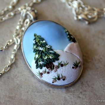 Snowy Landscape Polymer Clay Applique Statement Pendant Necklace