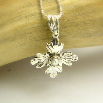 Sterling Silver cross pendant victorian style with pearl, Christianity romantic handmade necklace vines