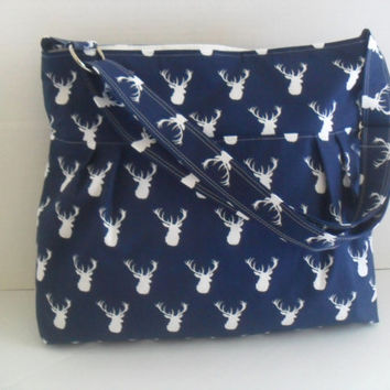 Deer Diaper Bag in Navy Blue - Diaper Bag - Buck Head- Messenger Bag - Nappy Bag - Navy Blue Deer - Crossbody - Deer Diaper Bag - Cross Body