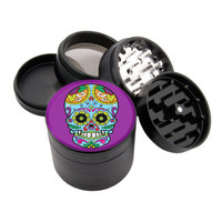 "Purple Colorful Sugar Skull Design - 2.25"" Premium Black Herb Grinder - Custom Designed"