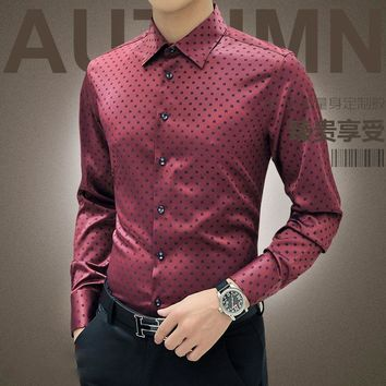 New Arrival Autumn Korean Men Shirt Long Sleeve 2017 Red Dot Shirt Cotton Mens Silk Casual Shirts Wedding Camisa Male