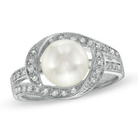8.0-8.5mm Cultured Freshwater Pearl Ring in Sterling Silver with White Topaz Accents