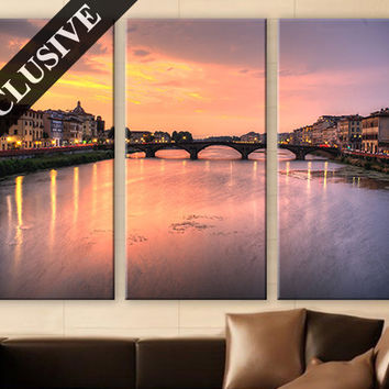 Canvas Wall Art Print, Fine Art Canvas 3 Panels Print Sunset Wall Art Décor Large Canvas Triptych Print for Home & Office Decoration
