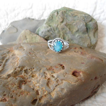 Size 8 Vintage Blue Opal Sterling Silver Signed Braided Wide Rope Band Ring Mexico southwest mexican jewelry hippie boho bohemian gypsy