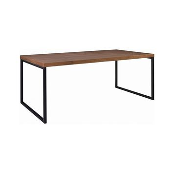 "Modern Scandinavian ""Dierk"" Rectangle Walnut Veneer & Metal Dining Table"