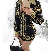 "Hot Sale ""Versace"" Popular Women Long Sleeve Lapel Top Shirt Short Skirt"