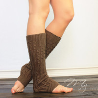 Mocha Knit Legwarmers, Womens Knit Boot Cuffs, Boot Socks, Cable Knitted Legwarmers, Womens Legwarmers, Knit Boot Socks