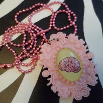 Light pink brain cameo necklace
