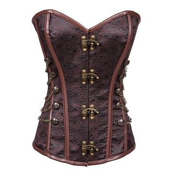 Agent Provocateur Classic Steampunk Corset Steel Boned Brown  Gothic Bustier Sexy Espartilhos Overbust Korsett