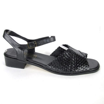 Vintage Woven Black Leather Sandals Braided Leather Sandals Low Heel Flat Leather Sandals Ankle Strap Open Toe Summer Sandals SIze 12