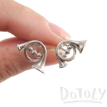 3D French Horn Shaped Music Themed Stud Earrings in Silver | DOTOLY