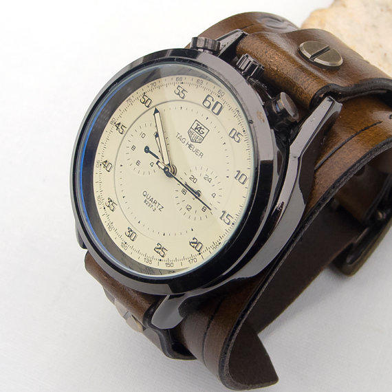 best mens leather cuff watches products on wanelo mens leather watch men leather cuff watch army sport military wrist watch