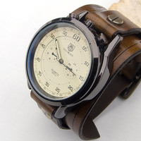 Mens Leather watch,  Men leather cuff watch, Army, Sport military wrist watch,