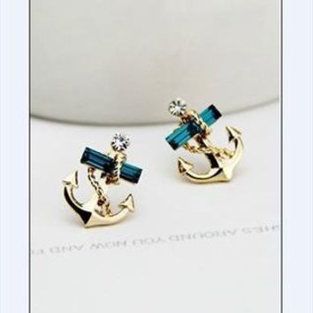 Anchor Earrings With Rhinestone from tulitajean
