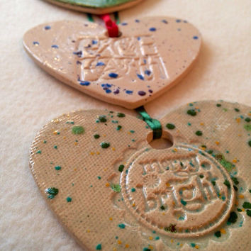 Set of 3 heart Christmas Ornaments Handmade ceramic  stamped pottery christmas decoration gift Christmas tree decor Xmas gift tag religious