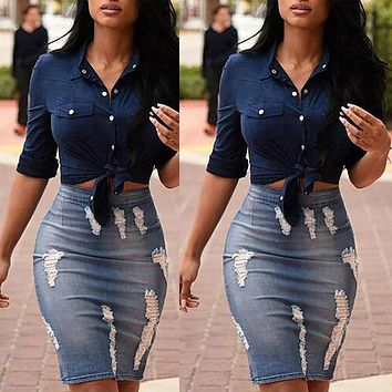 Distressed knee length denim pencil skirt