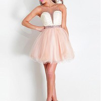 [89.99] Stunning Tulle & Stretch Satin Jewel Neckline Short A-line Homecoming Dress - Dressilyme.com