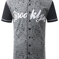 URBANCREWS Mens Hipster Hip Hop Splatter BROOKLYN Baseball Jersey T-shirt SMALL