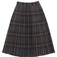 Grey Plaid Print Woolen Midi Pleated A-line Skirt