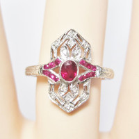 Ruby Diamond Ring 14K White Gold Size 7 Dainty Feminine Vintage