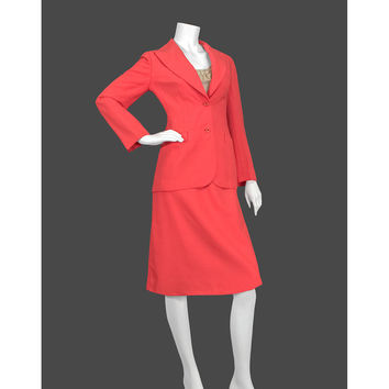 1970s Skirt Suit / 70s Secretary Suit / Sophisticated Minimalist Blazer Jacket & Skirt / Salmon Coral