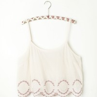 Free People Embroidered Hem Crop Cami