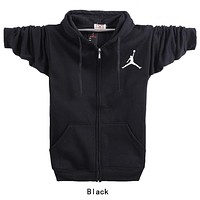 Jordan Trending Women Men Casual Long Sleeve Print Zipper Hoodie Coat Sweater Top Black