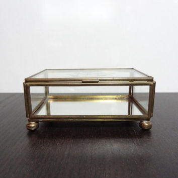 Vintage Glass and Brass Box with Mirrored Bottom and Etching of Sailboat on Lid - Nautical