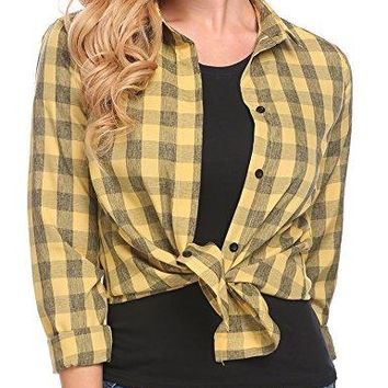 UNibelle Womens Casual Flannel Plaid Checker Button Down Roll up and Long Sleeves Shirt Top