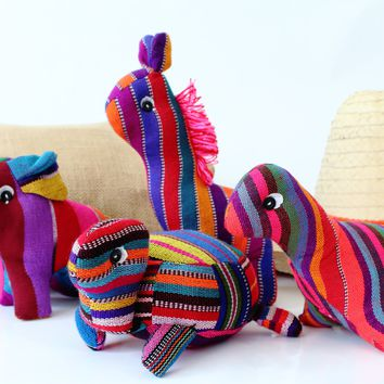 Handwoven Fabric Stuffed Animals