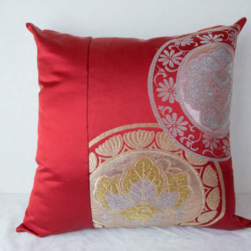 "Valentine's Kimono  Cushion Cover  ""Paulownia Blossoms"" (Japanese Kimono; Kimono Cushion; Made in Japan; Japanese Pillows; Red Kimono)"