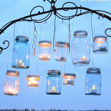 Hanging Mason Jars Lids 10 Outdoor Wedding Candle Holders DIY Canning Jar Hangers Handmade Upcycled Ball Jar Garden Party Lids Only No Jars