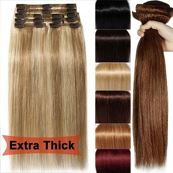 Thick Double Weft, Luxury Clip in Remy Human Hair Extensions, Full Head US
