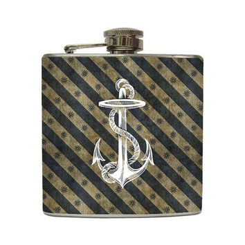 Vintage Nautical Anchor Whiskey Flask Navy Grunge Stipe with Anchor Gift Stainless Steel 6 oz Liquor Hip Flask LC-1038