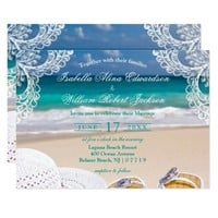 Turquoise Tropical Beach Summer Wedding Invitation