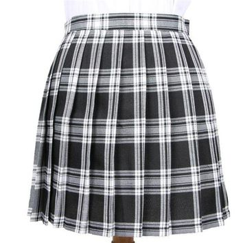 DK7G2 Winter Wool Umbrella A Line Vintage Plaid Skirt Pleated Tartan Skirts Women's Woolen Kilt Student skirts