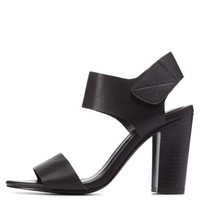 Black Single Strap Chunky Heels by Charlotte Russe